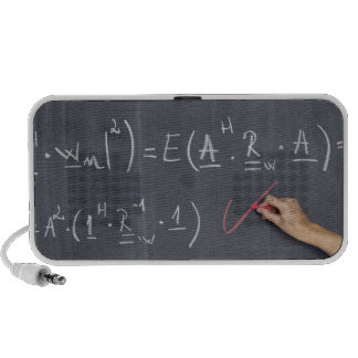 Blackboard with arithmetic's on it, close-up notebook speaker