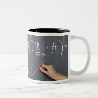 Blackboard with arithmetic's on it, close-up Two-Tone coffee mug