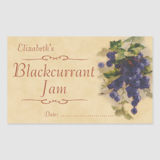 Blackcurrant jam or canning rectangular sticker