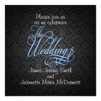 BlackDamask Elegant Wedding Invitation Card