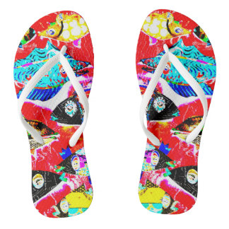 """Blackened Red Fishy"" Flops Flip Flops"