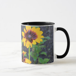 Blackeyed Susan floral mug w/ black trim