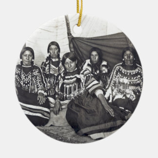 Blackfeet Indian Ladies Vintage Stereoview Ceramic Ornament