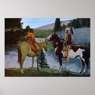 Blackfeet Native Americans on Horseback Poster