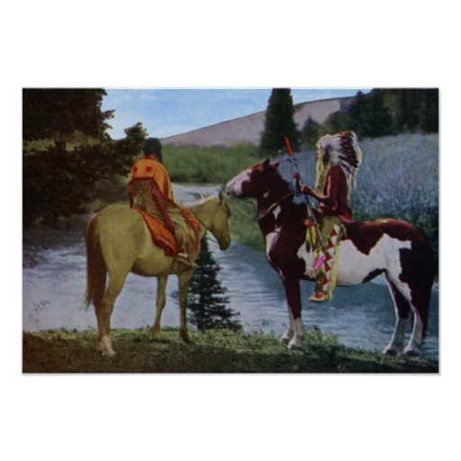 Blackfeet Native Americans on Horseback Posters