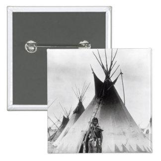Blackfoot Brave, near Calgary, Alberta, 1889 2 Inch Square Button