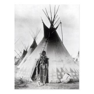 Blackfoot Brave, near Calgary, Alberta, 1889 Post Card