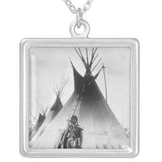 Blackfoot Brave, near Calgary, Alberta, 1889 Silver Plated Necklace