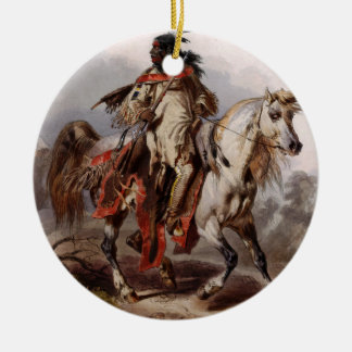 Blackfoot Indian On Arabian Horse being chased Ceramic Ornament