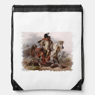 Blackfoot Indian On Arabian Horse being chased Drawstring Backpack