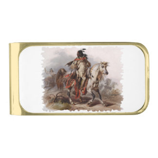 Blackfoot Indian On Arabian Horse being chased Gold Finish Money Clip