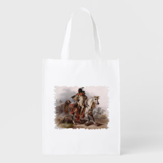 Blackfoot Indian On Arabian Horse being chased Grocery Bag