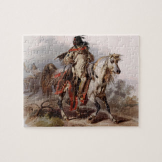 Blackfoot Indian On Arabian Horse being chased Jigsaw Puzzle