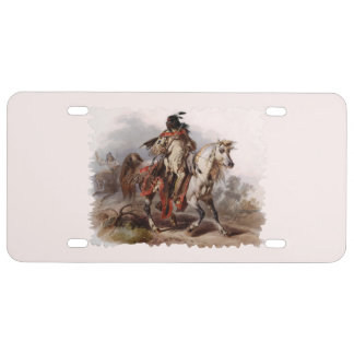 Blackfoot Indian On Arabian Horse being chased License Plate