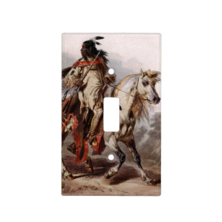 Blackfoot Indian On Arabian Horse being chased Light Switch Plates