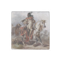 Blackfoot Indian On Arabian Horse being chased Stone Magnet