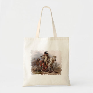 Blackfoot Indian On Arabian Horse being chased Tote Bag