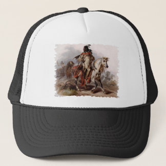 Blackfoot Indian On Arabian Horse being chased Trucker Hat