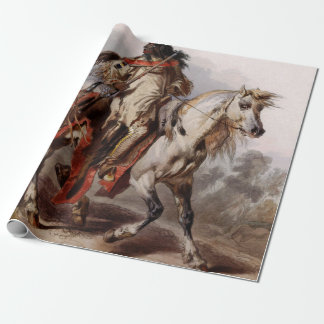 Blackfoot Indian On Arabian Horse being chased Gift Wrap