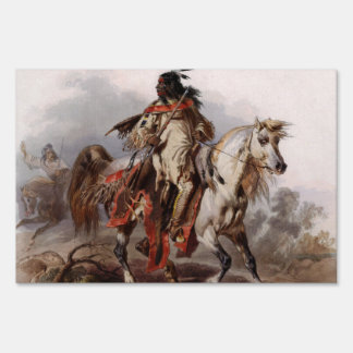 Blackfoot Indian On Arabian Horse being chased Signs