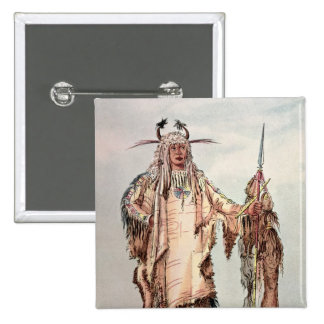 Blackfoot Indian Pe-Toh-Pee-Kiss, The Eagle Ribs 2 Inch Square Button