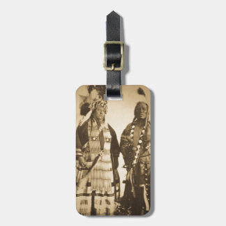 Blackfoot Indians Chief and Warrior Vintage Luggage Tag