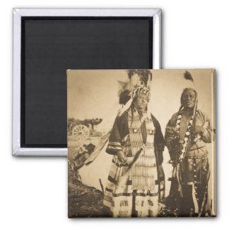 Blackfoot Indians Chief and Warrior Vintage Magnet