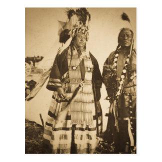 Blackfoot Indians Chief and Warrior Vintage Postcard