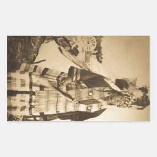 Blackfoot Indians Chief and Warrior Vintage Rectangular Sticker