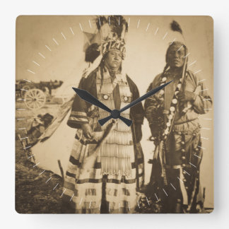 Blackfoot Indians Chief and Warrior Vintage Square Wall Clock
