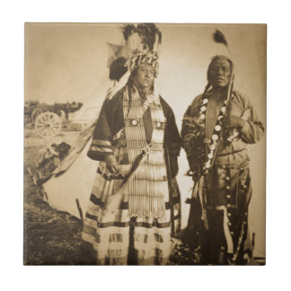Blackfoot Indians Chief and Warrior Vintage Tile