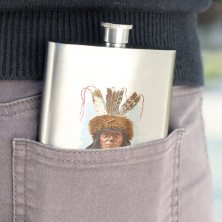 Blackfoot Sioux Chief: Big Razor Hip Flask