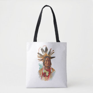 Blackfoot Sioux Chief: Many Horns Tote Bag
