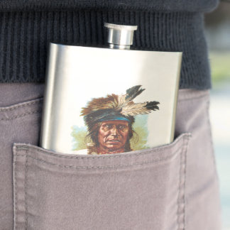 Blackfoot Sioux Chief: Red Thunder Hip Flask