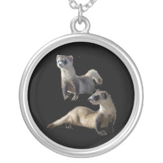 blackfooted ferret silver plated necklace