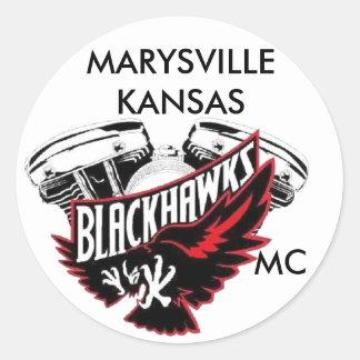 Blackhawks, MARYSVILLE KANSAS, MC Classic Round Sticker