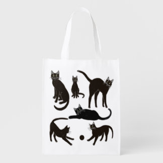 Blackie the Black Cat Grocery Tote Bag Grocery Bags