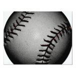 Blackish and Grey/Gray Baseball 4.25x5.5 Paper Invitation Card