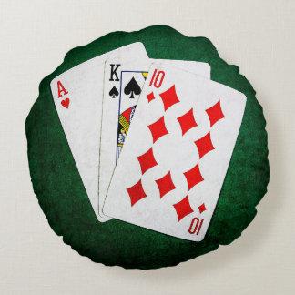 Blackjack 21 point - Ace, King, Ten Round Pillow