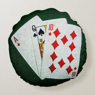 Blackjack 21 point - Ace, Queen, Ten Round Pillow