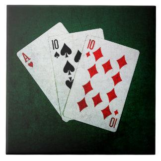 Blackjack 21 point - Ace, Ten, Ten Ceramic Tile
