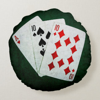 Blackjack 21 point - Ace, Ten, Ten Round Pillow