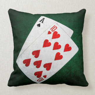 Blackjack 21 point - Ace, Ten Throw Pillow