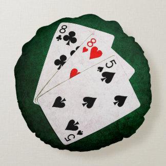 Blackjack 21 point - Eight, Eight, Five Round Pillow