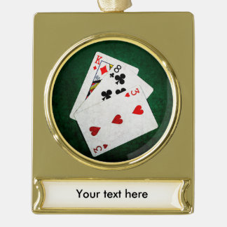 Blackjack 21 point - King, Eight, Three Gold Plated Banner Ornament