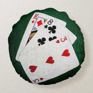 Blackjack 21 point - King, Eight, Three Round Pillow
