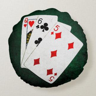 Blackjack 21 point - Queen, Six, Five Round Pillow