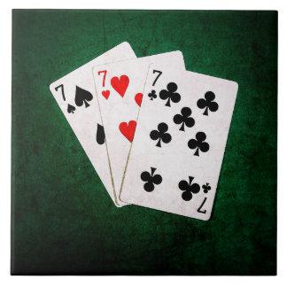 Blackjack 21 - Seven, Seven, Seven Ceramic Tile