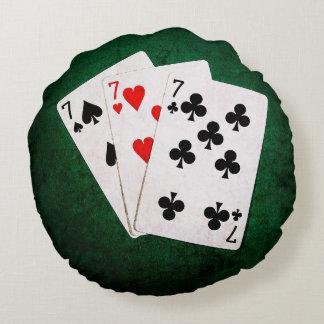 Blackjack 21 - Seven, Seven, Seven Round Pillow