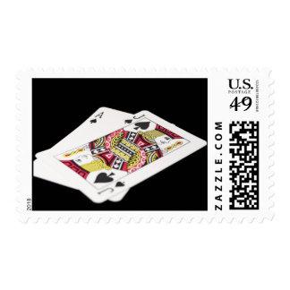 Blackjack Hand - Ace and Jack (3) Postage Stamp